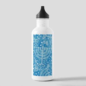 Hanukkah Menorah Pattern Water Bottle