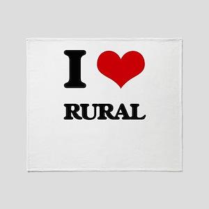 I Love Rural Throw Blanket