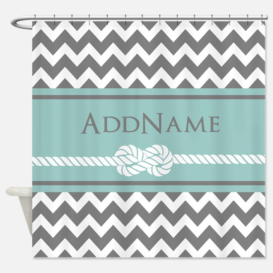 Gray Mint Chevron Rope Personalized Shower Curtain