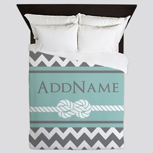 Gray Mint Chevron Rope Personalized Queen Duvet