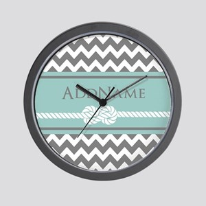 Gray Mint Chevron Rope Personalized Wall Clock