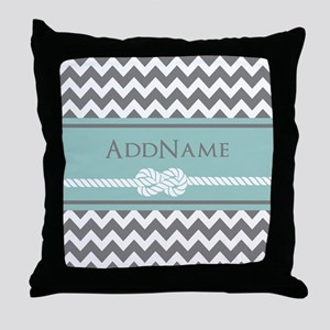 Gray Mint Chevron Rope Personalized Throw Pillow