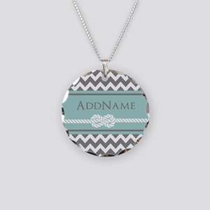 Gray Mint Chevron Rope Perso Necklace Circle Charm