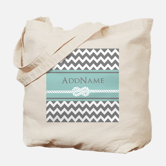 Gray Mint Chevron Rope Personalized Tote Bag