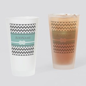 Gray Mint Chevron Rope Personalized Drinking Glass