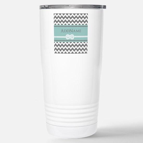 Gray Mint Chevron Rope Stainless Steel Travel Mug