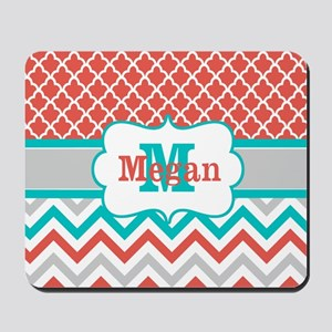 Coral Teal Chevron Quatrefoil Personalized Mousepa