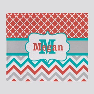 Coral Teal Chevron Quatrefoil Personalized Throw B
