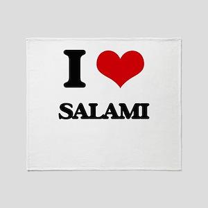 I Love Salami Throw Blanket