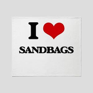 I Love Sandbags Throw Blanket