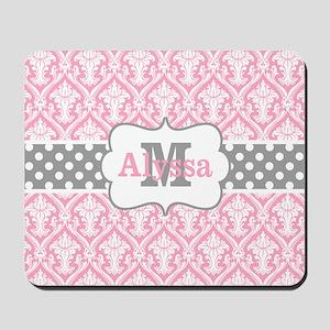 Pink Gray Damask Personalized Mousepad