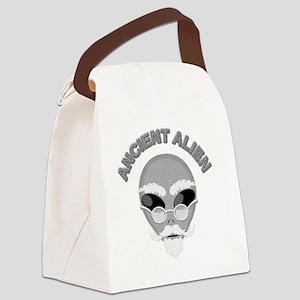 Alien Head In Halftone Canvas Lunch Bag