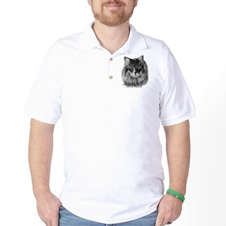 Long-Haired Gray Cat Golf Shirt