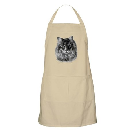 Long-Haired Gray Cat BBQ Apron