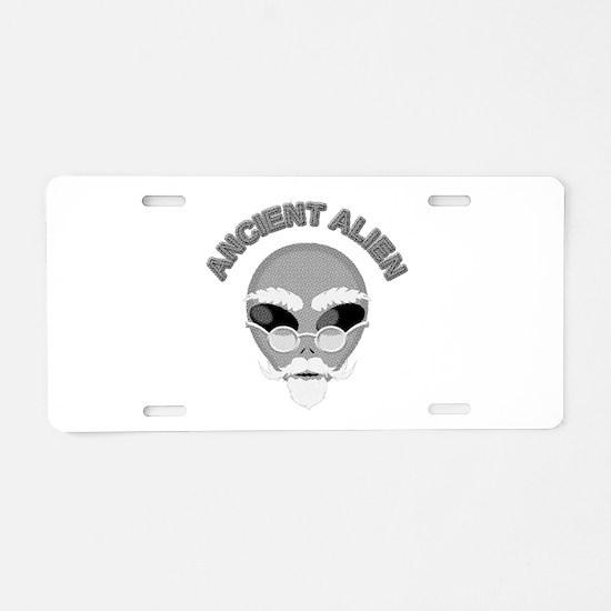 Alien Head In Halftone Aluminum License Plate