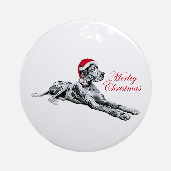 Great Dane Merley Xmas UC Ornament (Round)