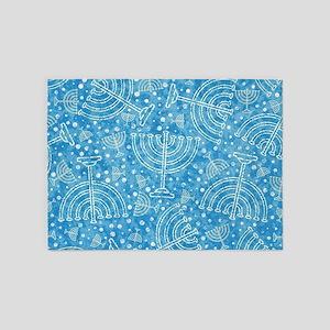 Hanukkah Menorah Pattern 5'x7'Area Rug