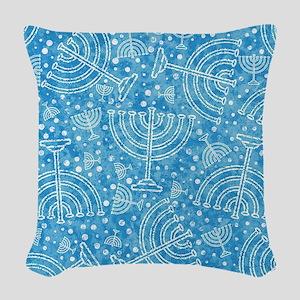 Hanukkah Menorah Pattern Woven Throw Pillow