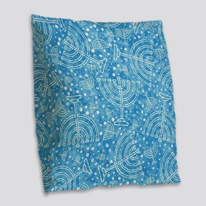 Hanukkah Menorah Pattern Burlap Throw Pillow