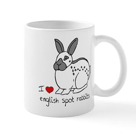 I Love English Spot Rabbits Mug