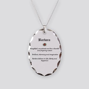 Barbara Name Meaning Necklace Oval Charm