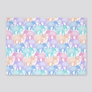 Cute Elephant Pattern 5'x7'Area Rug