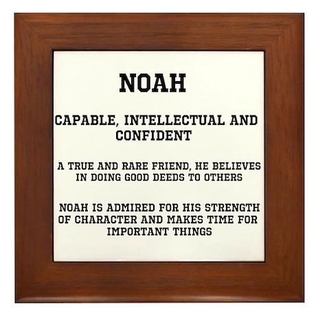 Noah Name Meaning Framed Tile by inspirationstation