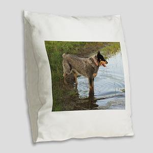 Austrailan Blue Heeler Burlap Throw Pillow