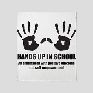 Hands up in school Throw Blanket