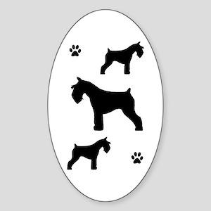 Schnauzers & Paw Prints Oval Sticker