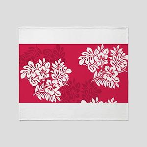 Dark Pink Hibiscus Throw Blanket