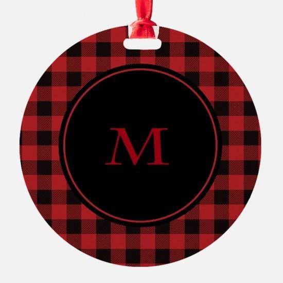 Red Black Plaid Monogram Ornament