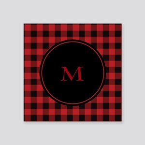 "Red Black Plaid Monogram Square Sticker 3"" x 3"""