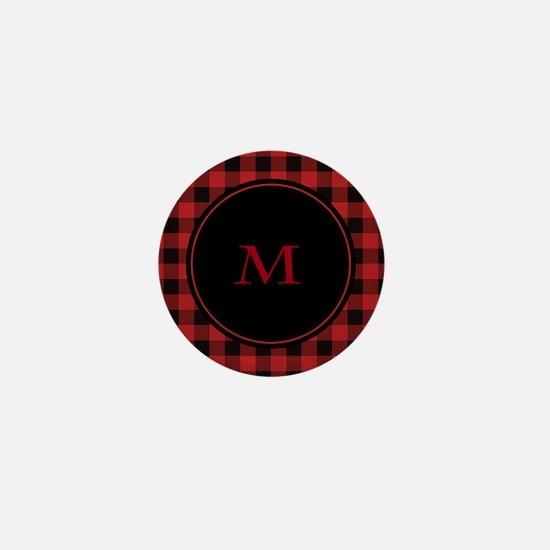 Red Black Plaid Monogram Mini Button