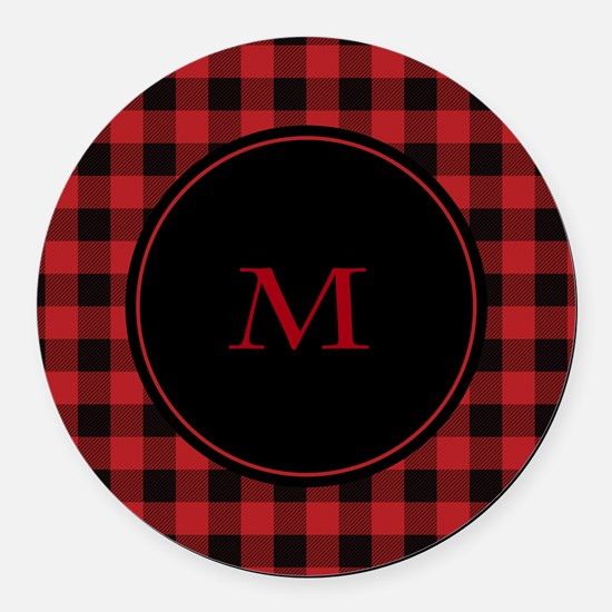 Red Black Plaid Monogram Round Car Magnet