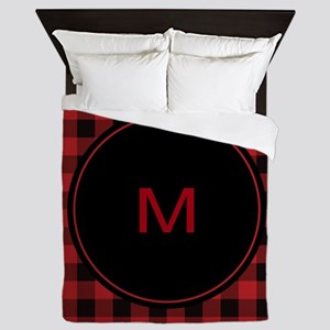 Red Black Plaid Monogram Queen Duvet