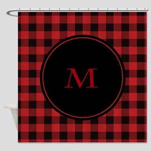 Red Black Plaid Monogram Shower Curtain