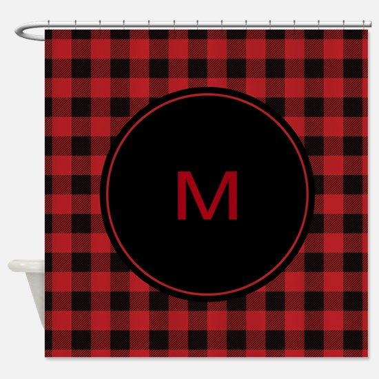 Red Black Plaid Monogram Shower Curtain
