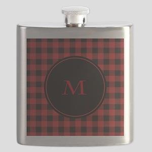 Red Black Plaid Monogram Flask