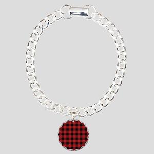 Red Black Flannel Plaid Charm Bracelet, One Charm