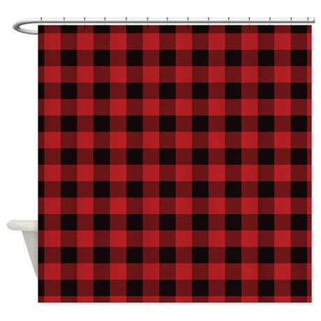 Red Black Flannel Plaid Shower Curtain By Organicpixels
