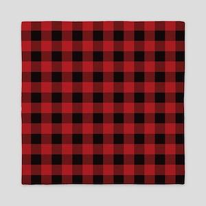 Red Black Flannel Plaid Queen Duvet