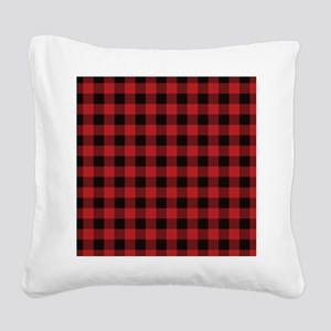 Red Black Flannel Plaid Square Canvas Pillow