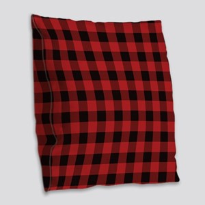 Red Black Flannel Plaid Burlap Throw Pillow