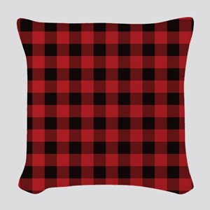Red Black Flannel Plaid Woven Throw Pillow