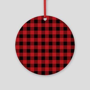 Red Black Flannel Plaid Ornament (Round)