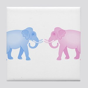 Pink and Blue Elephants Tile Coaster