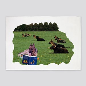 German Shepherd Scutzhund Training 5'x7'Area Rug