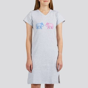 Cute Pink and Blue Elephants Women's Nightshirt