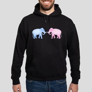 Cute Pink and Blue Elephants Hoodie (dark)